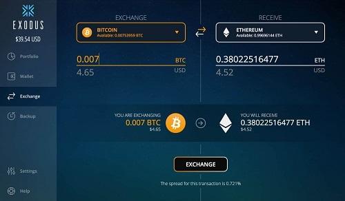 exodus wallet exchange