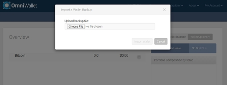 restore an omni wallet account