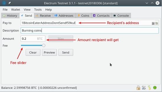 send bitcoins via electrum