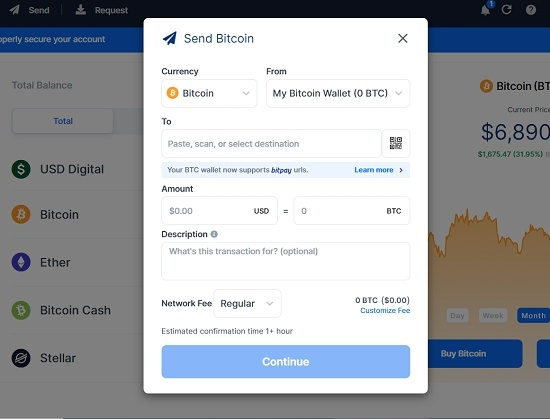 send payment via blockchain wallet