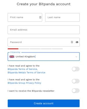 bitpanda create account