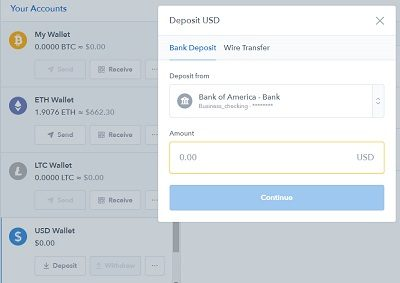 coinbase deposit account