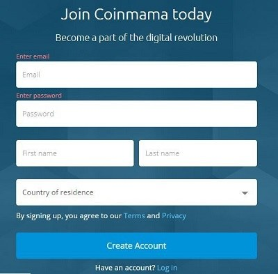 coinmama open account