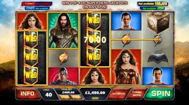 justice league slot features