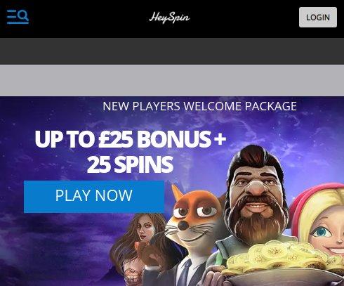 heyspin casino welcome bonus